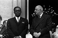0148189 © Granger - Historical Picture ArchiveJOSEPH DESIRE MOBUTU AND THE GENERAL DE GAULLE.   General Joseph Desire Mobutu, president of Congo Kinshasa with french president Charles de Gaulle at the Elysee palace (Paris) on march 27, 1969. Full credit: AGIP - Rue des Archives / Granger, NYC -- All Rights Reserved.