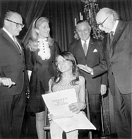 0148266 © Granger - Historical Picture ArchiveJOSIANE BASTET.   Josiane Bastet who survived to the polio here receiving grant she is with Rene Floriot, baronness Marie Helene de Rothschild, Marcel Bleustein Blanchet and Jean Rostand december 8, 1967. Full credit: AGIP - Rue des Archives / Granger, NYC -- All rights reserved.