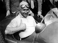 0148339 © Granger - Historical Picture ArchiveJUAN MANUEL FANGIO.   Juan Manuel Fangio world champion, in Falkingham april 9, 1952. Full credit: AGIP - Rue des Archives / Granger, NYC -- All rights reserved.