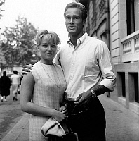 0148612 © Granger - Historical Picture ArchiveKARIN BALL AND SEAN FLYNN.   German actress Karin Ball in Paris meeting Sean Flynn (ErrolFlynn's son) her partner in film Voir Venise et crever before starting the shooting in-Venice august 14, 1963. Full credit: AGIP - Rue des Archives / Granger, NYC -- All Rights Reserved.