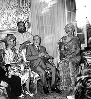 0148829 © Granger - Historical Picture ArchiveLA BEGUM.   Charles Vanel with his wife sculptor Cesar and The Begum (fourth and last wife of Aga Khan III) in the Alpes-Maritimes prefecture in Nice for the Bastille Day celebrations here july 22, 1985. Full credit: AGIP - Rue des Archives / Granger, NYC -- All rights reserved.
