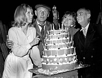 0148992 © Granger - Historical Picture ArchiveLA GRANDE VADROUILLE.   The french actors l-r: Marie Dubois, Bourvil, Colette Brosset and Louis de Funes on the set of the film Don't Look Now, We've Been Shot at by GerardOury, in 1966. Full credit: AGIP - Rue des Archives / Granger, NYC -- All Rights Reserved.