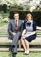 0149074 © Granger - Historical Picture ArchiveLA PRINCESSE ASTRID OF BELGIQUE.   Princess Astrid of Belgium (daughter of AlbertofLiege future king AlbertII andPaola) with his fiance archduke Lorenz of Austria Este on may 12, 1984 in Belvedere gardens in Brussels for announcing of their engagement. Full credit: AGIP - Rue des Archives / Granger, NYC -- All Rights Reserved.