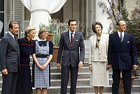 0149076 © Granger - Historical Picture ArchiveLA PRINCESSE ASTRID OF BELGIQUE AND SON FIANCE.   Princess Astrid of Belgium and archduke Lorenz of Austria Este for announcing of their engagement, with Astrid's parents on l : Albert prince of Liege future king Albert II and Paola (future queen) in Belvedere gardens on may 12, 1984. Full credit: AGIP - Rue des Archives / Granger, NYC -- All rights reserved
