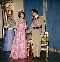 0149183 © Granger - Historical Picture ArchiveLA REINE FABIOLA AND THE ROI BAUDOUIN OF BELGIQUE.   Queen Fabiola ang king Baudouin 1st of Belgium atRoyal Palace of Brussells, january 23, 1963. Full credit: AGIP - Rue des Archives / Granger, NYC -- All rights reserved.