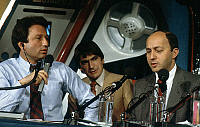 0149380 © Granger - Historical Picture ArchiveLAURENT FABIUS.   french politician Laurent Fabius with radio host Michel Drucker and singer Serge Lama november 1984. Full credit: AGIP - Rue des Archives / Granger, NYC -- All ri.