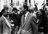 0149388 © Granger - Historical Picture ArchiveLAURENT FABIUS.   french prime minister Laurent Fabius and his wife Francoise, in Matignon for lunch with french athletes of LA olympic-games September 13, 1984. Full credit: AGIP - Rue des Archives / Granger, NYC -- All rights reserved.