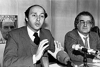 0149395 © Granger - Historical Picture ArchiveLAURENT FABIUS AND GEORGES FILLIOUX IN 1982.   The members of the socialist party are assembling after the election of FrancoisMitterrand, with Laurent Fabius, spokesperson of the party and Georges Fillioux, in the head office of the party in Paris, on may 12th, 1981. Full credit: AGIP - Rue des Archives / Granger, NYC -- All rights reserved.