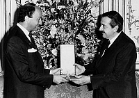 0149397 © Granger - Historical Picture ArchiveLAURENT FABIUS AND RAUL ALFONSIN.   Raul Alfonsin, argentinian president, giving to french prime minister Laurent Fabius, argentinian honour, september 19, 1985. Full credit: AGIP - Rue des Archives / Granger, NYC -- All rights reserved.