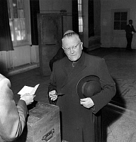0149492 © Granger - Historical Picture ArchiveLE CARDINAL FELTIN.   Cardinal Maurice Feltin, archbishop of Paris, voting for the referendum in Paris, on september 28, 1958. Full credit: AGIP - Rue des Archives / Granger, NYC -- All Rights Reserved.