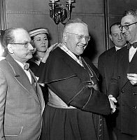0149496 © Granger - Historical Picture ArchiveLE CARDINAL FELTIN.   cardinal Maurice Feltin receiving the cross of french courtesy Knight with on right Marcel Ranville, (member of the order), on left Valensi and in the background, Raymond Rodel on january 21, 1956. Full credit: AGIP - Rue des Archives / Granger, NYC -- All rights reserved.