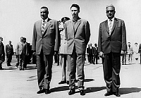 0149573 © Granger - Historical Picture ArchiveLE COLONEL NASSER, THE COLONEL BOUMEDIENNE AND THE MARECHAL SALLAL.   l-r The colonel Nasser, lthe colonel Boumedienne, the field marshall Salla at the airport of Algeria to go to the arab meeting of Casablanca, september 1965. Full credit: AGIP - Rue des Archives / Granger, NYC -- All rights reserv
