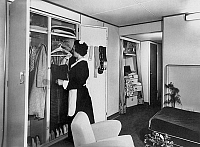 0149670 © Granger - Historical Picture ArchiveLE FRANCE.   A cabin of first class on transatlantic liner France on october 11, 1960. Full credit: AGIP - Rue des Archives / Granger, NYC -- All rights reserved.