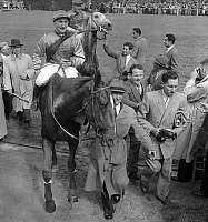 0149781 © Granger - Historical Picture ArchiveLE GRAS SAVOYE GRAND STEEPLE CHASE OF PARIS.   Gras Savoye Grand Steeple-Chase at Auteuil racecourse, Paris, june 19, 1955 : winner Claude Maire on Farfath. Full credit: AGIP - Rue des Archives / Granger, NYC -- All rights reserved.