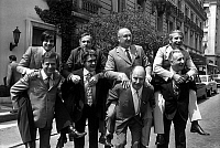 0149824 © Granger - Historical Picture ArchiveLE LURON, SERRAULT, POIRET.   Members of jury of humorists prize with winners on their back, Paris, may 25, 1973 : Robert Rocca with Thierry Le Luron, Jacques Bodoin with Michel Serrault, Robert Courtine with Henry Blanc and Jacques Meyran with Jean Poiret. Full credit: AGIP - Rue des Archives / Granger, NYC -- All Rights Reserved.