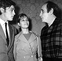 0150394 © Granger - Historical Picture ArchiveLEO FERRE.   singer Leo Ferre after his concert in Bobino congratulated by Nathalie and Alain Delon september 21, 1967. Full credit: AGIP - Rue des Archives / Granger, NYC -- All Rights Reserved.