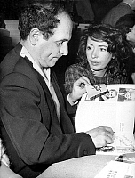 0150396 © Granger - Historical Picture ArchiveLEO FERRE.   French singer Leo Ferre with his 2nd wife Madeleine Rabereau at National Writers Committee meeting february 11, 1961. Full credit: AGIP - Rue des Archives / Granger, NYC -- All Rights Reserved.