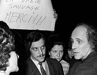 0150398 © Granger - Historical Picture ArchiveLEO FERRE.   singer Leo Ferre after concert in Brussels here with journalists admirers and strikers january 23, 1970. Full credit: AGIP - Rue des Archives / Granger, NYC -- All rig
