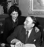 0150430 © Granger - Historical Picture ArchiveLEON PAUL FARGUE.   french poet Leon Paul Fargue received literary prize december 17, 1946 here congratulated by his wife. Full credit: AGIP - Rue des Archives / Granger, NYC -- All Rights Reserved.