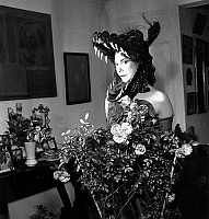 0150473 © Granger - Historical Picture ArchiveLEONOR FINI.   French artist Leonor Fini (1908-1996) during a fancy dress ball on march 24, 1949. Full credit: AGIP - Rue des Archives / Granger, NYC -- All rights reserved.