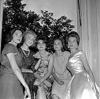 0150597 © Granger - Historical Picture ArchiveLES DEBUTANTES.   Veronique de Montesquiou Fezensac, Francoise Beghin, Pascaline Beghin and Elizabeth de la Gabbe on july 10, 1958 in Paris 2 days before ball of the debutantes which will take place in Versailles. Full credit: AGIP - Rue des Archives / Granger, NYC -- All rights reserved.