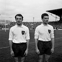 0150633 © Granger - Historical Picture ArchiveLES FRERES BONIFACE.   the Boniface brothers Guy (l) and Andre (r), rugbymen march 27, 1965. Full credit: AGIP - Rue des Archives / Granger, NYC -- All rights reserved.