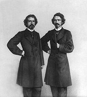 0150635 © Granger - Historical Picture ArchiveLES FRERES DAVENPORT.   Davenport brothers Ira Erastus (1839-1877) and William Henry (1841-1911) famus american mediums. Full credit: AGIP - Rue des Archives / Granger, NYC -- All Rights Reserved.