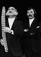0150643 © Granger - Historical Picture ArchiveLES FRERES ENNEMIS IN 1979.   french comics Les freres Ennemis (Teddy Vrignault on the left and Andre Gaillard) on stage at the Mathurins Theater in Paris september 20, 1979. Full credit: AGIP - Rue des Archives / Granger, NYC -- All rights