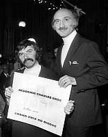 0150645 © Granger - Historical Picture ArchiveLES FRERES ENNEMIS RECOIVE THE PRIX CHARLES CROS.   french comics Les Freres Ennemis (Teddy Vrignault left and Andre Gaillard right) receiving prize for their record Les Depanneuses march 05, 1970. Full credit: AGIP - Rue des Archives / Granger, NYC -- All Rights Reserved.