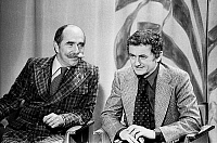 0150653 © Granger - Historical Picture ArchiveLES FRERES ROULAND.   TV presenters Jean Paul Rouland and Jacques Rouland on set of tvprogram january 1976. Full credit: AGIP - Rue des Archives / Granger, NYC -- All rights reserv