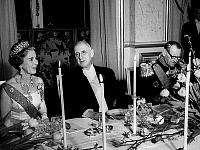 0150838 © Granger - Historical Picture ArchiveLES SOUVERAINS DANOIS IN FRANCE.   king Frederic IX and queen Ingrid of Denmark dining with president Charles de Gaulle on april 6, 1965 in Paris. Full credit: AGIP - Rue des Archives / Granger, NYC -- All rights reserved.