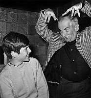 0151308 © Granger - Historical Picture ArchiveLOUIS OF FUNES.   french actor Louis De Funes and his son Olivier on set of film Fantomas is back 1965. Full credit: AGIP - Rue des Archives / Granger, NYC -- All rights reserved.