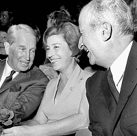 0151322 © Granger - Historical Picture ArchiveLOUIS OF FUNES.   Louis De Funes with his wife Jeanne and Maurice Chevalier at party for film Le Gendarme se marie in 1968. Full credit: AGIP - Rue des Archives / Granger, NYC -- All Rights Reserved.