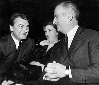 0151325 © Granger - Historical Picture ArchiveLOUIS OF FUNES.   Louis de Funes with his wife Jeanne and actor Jean Marais at premiere of film Fantomas Strikes Back 1965. Full credit: AGIP - Rue des Archives / Granger, NYC -- All Rights Reserved.