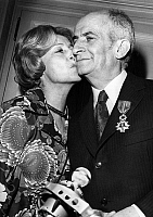 0151338 © Granger - Historical Picture ArchiveLOUIS OF FUNES.   French actor Louis de Funes kissed by his wife for his cross of chevalier of the Legion of Honour on march -16, 1973 at Maxim's restaurant in Paris. Full credit: AGIP - Rue des Archives / Granger, NYC -- All rights reserve