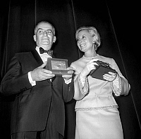 0151348 © Granger - Historical Picture ArchiveLOUIS OF FUNES AND MICHELE MORGAN.   Nuit du Cinema (movie prize giving) in Paris on november 29, 1968 : Louis De Funes and Michele Morgan. Full credit: AGIP - Rue des Archives / Granger, NYC -- All Rights Reserved.