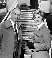 0151349 © Granger - Historical Picture ArchiveLOUIS OF FUNES AND SA FEMME JEANNE.   french actor Louis De Funes with his wife Jeanne in departure for Madrid 1967. Full credit: AGIP - Rue des Archives / Granger, NYC -- All righ