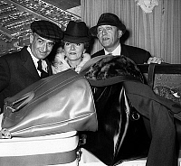 0151353 © Granger - Historical Picture ArchiveLOUIS OF FUNES, COLETTE BROSSET AND ROBERT DHERY.   French comedians Louis de Funes, Colette Brosset and Robert Dhery became salesclerks for travel objects, on october 18, 1962. Full credit: AGIP - Rue des Archives / Granger, NYC -- All rig