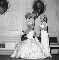 0151533 © Granger - Historical Picture ArchiveLUCKY.   Concert in Montansier theater in Versailles here model Lucie Daouphars, called Lucky and Freddy on june 7, 1952. Lucky is dressed as MarieAntoinette. Full credit: AGIP - Rue des Archives / Granger, NYC -- All rights reserved.