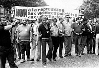 0152000 © Granger - Historical Picture ArchiveMANIFESTATION CGT AND CFDT A PARIS IN 1975.   Members trade unionists of the CGT and CFDT march from Republique district to Bastille, in Paris, to support the claim of the workmen of the book and those of the newspaper Parisien Libere, June 12, 1975 Neg:cx8177. Full credit: AGIP - Rue des Archives / Granger, NYC -- All rights reserved.