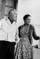 0152233 © Granger - Historical Picture ArchiveMARC CHAGALL AND SA FEMME.   The painter Marc Chagall (1887-1985) with his wife Valentina at their home in Valencia (Saint-Paul de Vence), october 17, 1957. Full credit: AGIP - Rue des Archives / Granger, NYC -- All rights reserved.
