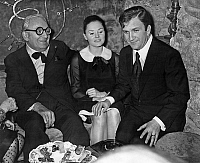 0152258 © Granger - Historical Picture ArchiveMARCEL ACHARD AND PIERRE MONDY.   Marcel Achard with Pierre Mondy and his wife Annie Fournier just after their wedding december 19, 1967. Full credit: AGIP - Rue des Archives / Granger, NYC -- All Rights Reserved.