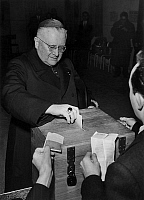 0152371 © Granger - Historical Picture ArchiveMARCEL FELTIN.   During general elections in Paris the Cardinal of Paris Marcel Feltin in polling station, january 2, 1956. Full credit: AGIP - Rue des Archives / Granger, NYC -- All Rights Reserved.