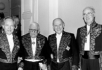 0152381 © Granger - Historical Picture ArchiveMARCEL LANDOWSKI.   Marcel Landowski, Sanguet, Yehudi Menuhin et Raymond Gallois Montbrun at the French Academy of Fine Arts december 17, 1986. Full credit: AGIP - Rue des Archives / Granger, NYC -- All rights reserved.