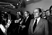 0152443 © Granger - Historical Picture ArchiveMARCHAIS, FABRE, MITTERRAND.   French politicians Georges Marchais, Robert Fabre and Francois Mitterrand making a statement to the press about Left Wings Union may 17, 1977. Full credit: AGIP - Rue des Archives / Granger, NYC -- All rights