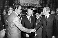 0152444 © Granger - Historical Picture ArchiveMARCHAIS, MITTERRAND, FABRE.   french politicians Georges Marchais, Francois Mitterrand and Robert Fabre during signature of left wing alliance (communist, socialist, Radical) in Paris july 12, 1972. Full credit: AGIP - Rue des Archives / Granger, NYC -- All Rights Reserved.