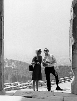 0152534 © Granger - Historical Picture ArchiveMARGUERITE OF DANEMARK AND HENRI OF LABORDE OF MONPEZAT.   Princess Margrethe of Denmark (future queen Margrethe II) and her fiance future prince Henrik (Henri de Laborde de Monpezat) on holidays in Greece here on Acropolis in Athens, april 13, 1967. Full credit: AGIP - Rue des Archives / Granger, NYC -- All Rights Reserved.