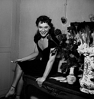 0152634 © Granger - Historical Picture ArchiveMARIA CASARES A THE COMEDIE FRANCAISE.   Maria Casares making her debuts at the French Comedy theater : she will perform in play Six personnages en quete d'auteur by LuigiPirandello april 17, 1952 here in her dressing-room after the premiere. Full credit: AGIP - Rue des Archives / Granger, NYC -- All Rights Reserved.