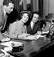 0152660 © Granger - Historical Picture ArchiveMARIA FELIX.   actress Maria Felix signing contract for next movie Fever Mounts at El Pao january 24, 1957. Full credit: AGIP - Rue des Archives / Granger, NYC -- All rights reserv