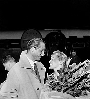 0152685 © Granger - Historical Picture ArchiveMARIA SCHELL.   Maria Schell and fiance director Horst Haechler in Paris november 06, 1956. Full credit: AGIP - Rue des Archives / Granger, NYC -- All rights reserved.